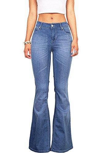 [Celebrity Pink Women's Juniors High Waist Fitted Flare Bottom Jeans (7, Med Denim)] (70s Look For Women)
