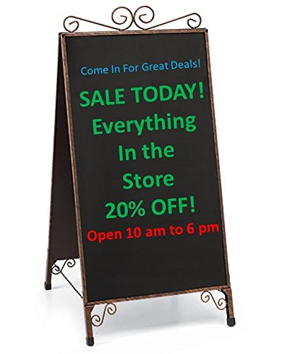 A-Frame Chalkboard Large Outdoor Sidewalk Easel Restaurant Menu Board Magnetic Metal Antique Double Side Scrolled Cafe Store Sign for Businesses Stand