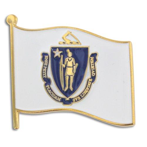 "PinMart's Massachusetts US State Flag MA Enamel Lapel Pin 1"""