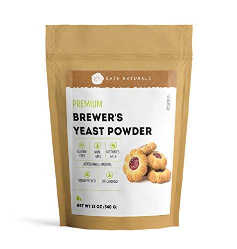 Brewer's Yeast Powder - Kate Naturals. Perfect for Lactation Cookies, Mother's Milk. Gluten-Free & Non-GMO. Fresh Fragrance. Large Resealable Bag. 1-Year Guarantee. 12oz.