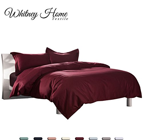 Hotel Quality 100% Natural Cotton Duvet Cover Set Twin Size Burgundy/ Red 2 Pieces, Soft Hypoallergenic Breathable Comforter Case, High Thread Count Quilt Cover with Zipper Ties Solid Bedding