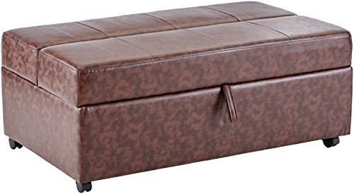 (Upholstered Bench with Fold Out Sleeper and Casters Dark Brown)