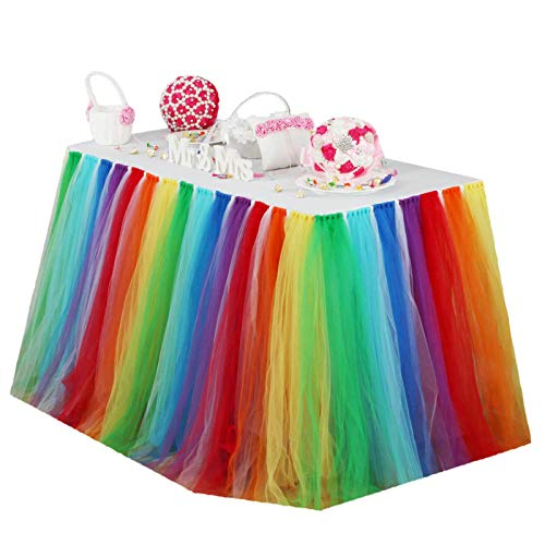Vlovelife Rainbow Color Tulle Table Skirt Tutu Tableware TableCloth Party Baby Shower Birthday Wedding Decorations Favor 100cm X 80cm Customized Size Available]()