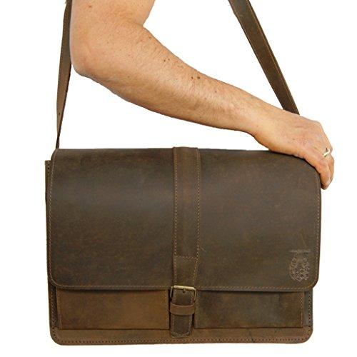 FREIHERR von MALTZAHN Umhängetasche, Laptoptasche PLANCK aus braunem BIO-Leder, Made in Germany, inkl. Lederpflege