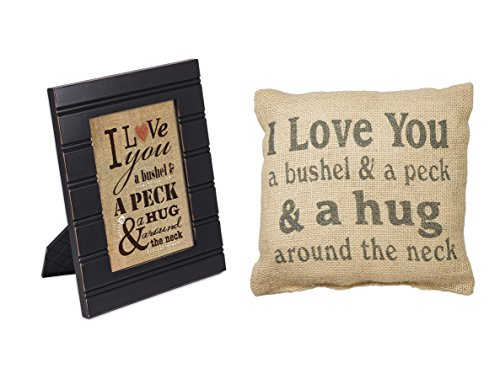 Love You a Bushel and Peck Black Picture Frame and Burlap Pillow Set of 2
