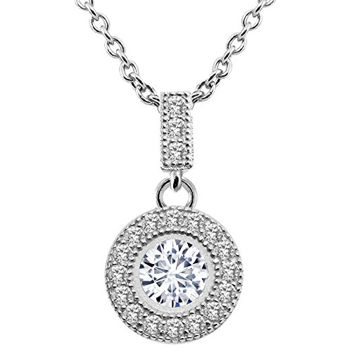 Bezel Round Moissanite Pendant - 925 Sterling Silver Pendant Timeless Brilliant Round (IJK) 0.80ct (DEW) Created Moissanite