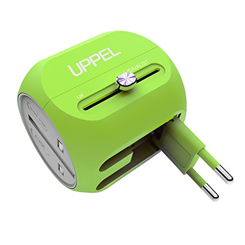 Universal Travel Charger UPPEL International Power Adapter with USB Port and USB C Port Support 100V-240V Voltage for US, AU, Asia, Europe, UK Plug Adapters Compatible Over 150 Countries(Green)