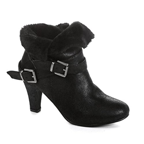 Twisted Women's Hailey Faux Fur Cuffed Ankle Booties- BLACK, Size 8