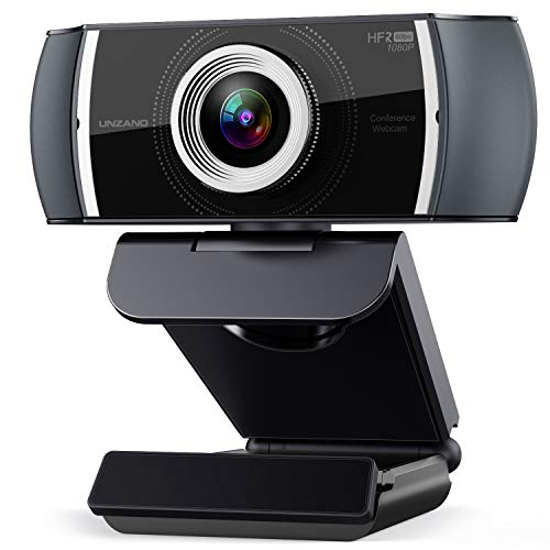 1080P 60FPS Webcam, Unzano Full HD 1080P Webcam, USB Desktop Webcam for Streaming, Computer Cameras with Dual Noise Reduction Microphone for Video Conference Online Classes, Plug & Play