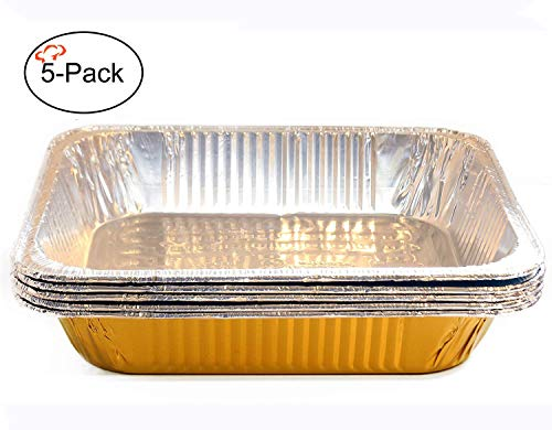 Tiger Chef Half Size Gold Disposable Aluminum Foil Steam Table Baking Pans, 12.75in x 10.38in x 2.5in Deep disposable Chafing Pans 5-Pack ()