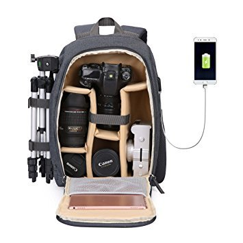 Camera Backpack Waterproof Nylon DSLR Backpack Professional Camera Bag with USB External Charging Port for Canon Nikon Sony Camera Accessories and Laptops Tablets Black (Yellow)