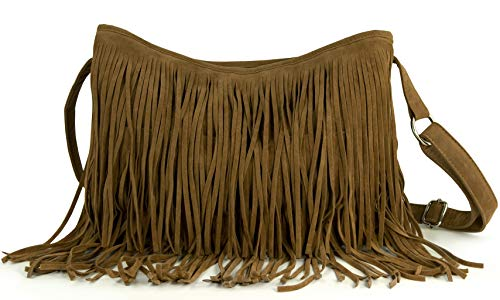 Hoxis Tassel Faux Suede Leather Hobo Cross Body Shoulder Bag Womens Sling Bag (Brown)