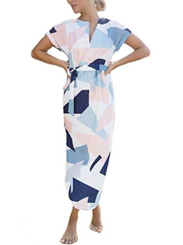 Women Geometric Irregular V Neck Short Sleeve Print Long Dress with Belt (L, ()