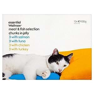 Selección carne y pescado bolsas gato esencial Waitrose 12 x 100g