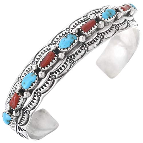 Turquoise Coral Navajo Silver Row Bracelet Hammered Sterling Cuff Hallmarked 0754 ()