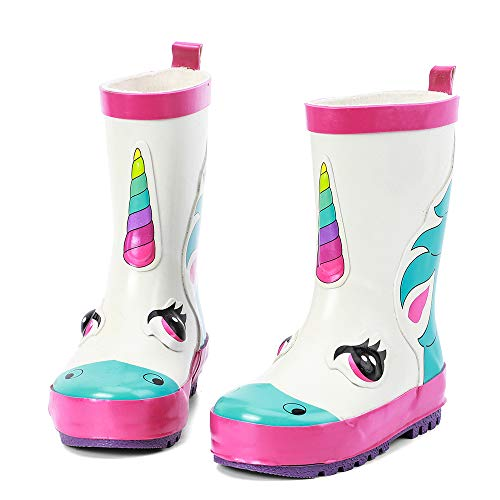 ALEADER Kids Waterproof Rubber Rain Boots for Girls, Boys & Toddlers with Fun Prints & Handles White/Unicorn 6 M US Toddler