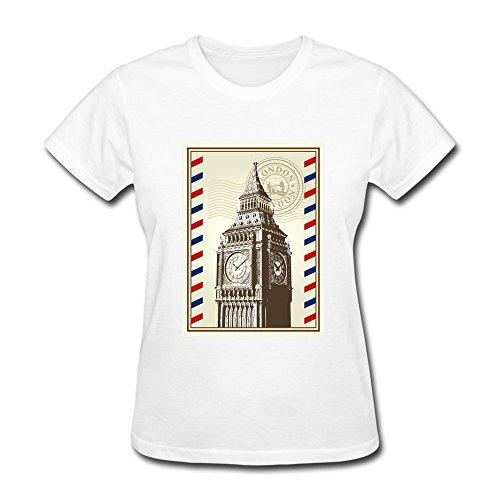 (Women London Big Clock Logo T Shirt,White Tee By HGiorgis L White)
