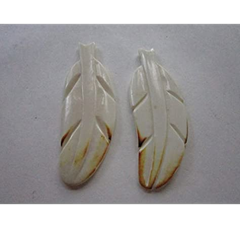 Amazon Com 2 Carved Bone Feathers W Brown Tips Pendants Charms Beads Carved Buffalo Bone Jewelry Craft Making 37a Arts Crafts Sewing