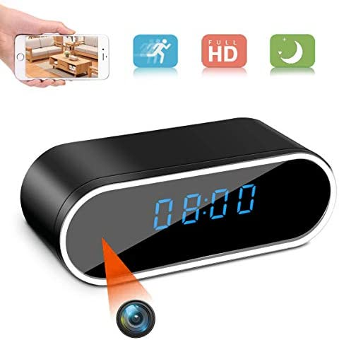 Hidden Camera Clock,HD 1080P WiFi Spy Camera Alarm Clock with Night Vision and Motion Detective,Monitor Video Recorder Nanny Cam for Home Office Security