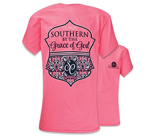 Southern Couture SC Classic Southern By the Grace of God Womens Classic Fit T-Shirt – Safety Pink, Medium