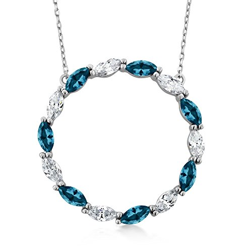 3.57 Ct London Blue Topaz 925 Sterling Silver Stunning Marquise Cut Circle Pendant Necklace with 18 Inch Silver Chain