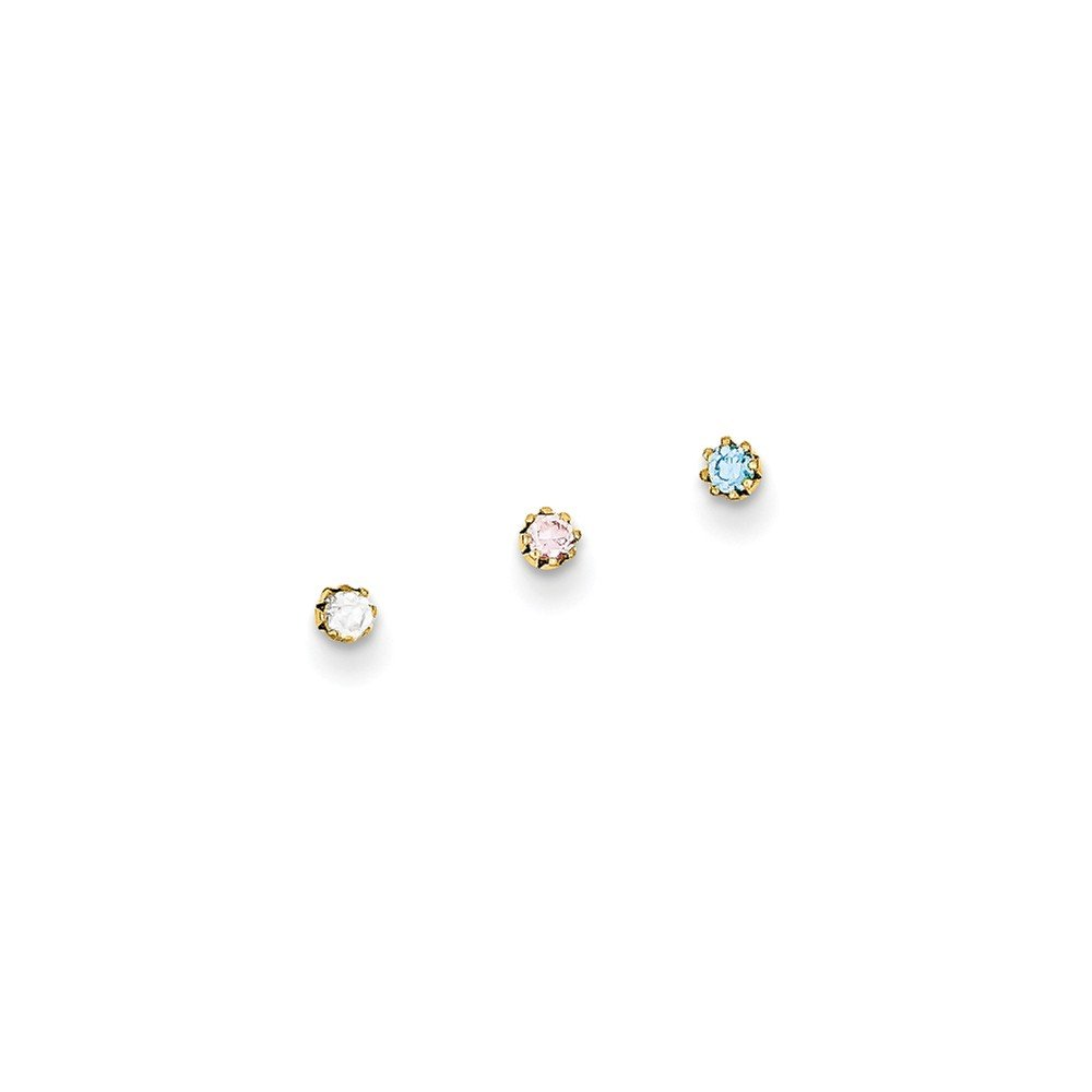 10k Yellow Gold 1.5mm Set Of 3 Nose Studs