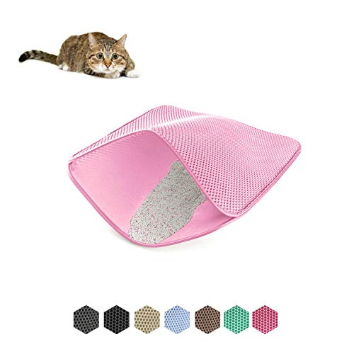 WePet Cat Litter Mat, Kitty Litter Trapping Mat, Small Size, Honeycomb Double Layer Mats, No Phthalate, Urine Waterproof, Easy Clean, Scatter Control, Catcher Litter Box Rug Carpet 20x16 Inch Pink