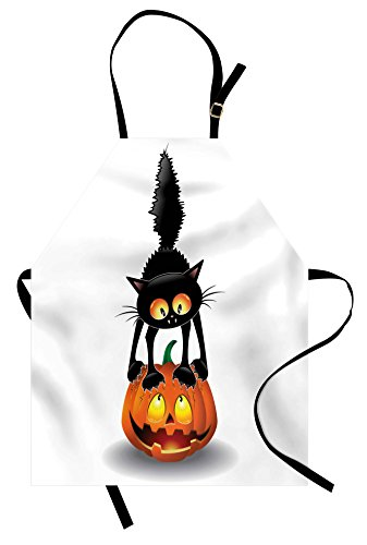 Ambesonne Halloween Apron, Black Cat on Pumpkin Drawing Spooky Cartoon Characters Halloween Humor Art, Unisex Kitchen Bib Apron with Adjustable Neck for Cooking Baking Gardening, Orange Black -