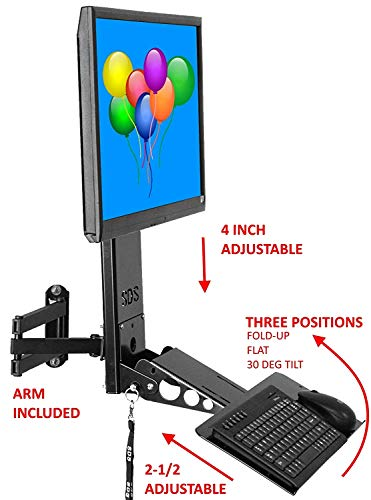 SDS iMount 4.0 Adjustable Keyboard & Monitor Wall Mount w/Tilt, Fold Away 6 Inches from Wall, Extends out 30 inches Adjustable Monitor Height and Keyboard Depth Fits Anyone - Articulating Arm Included (Small Tilt Wall Mount)