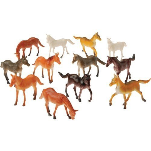 Jungle Horse Toy Animals Figures - 48 Piece Mini Wild Jungle Animals Toys Set, Vinyl Plastic Educational Animal set, Gift Party's, For Kids, Toddlers, Boys/Girls, Fun Cake Toppers About 2.5