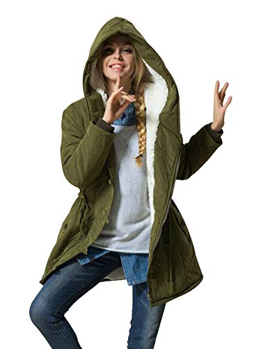 Eleter Women's Winter Warm Coat Hoodie Parkas Overcoat Fleece Outwear Jacket with Drawstring (2XL,Army Green) (Army Green Coat Women)