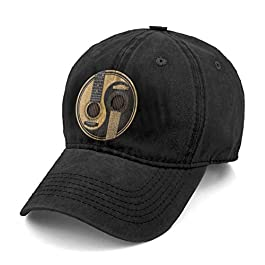 Unisex Old and Worn Acoustic Guitars Yin Yang Denim Hat Adjustable Washed Dyed Cotton Dad Baseball Caps