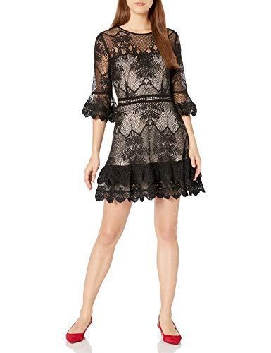 BB Dakota Junior's Layer Cake Scalloped lace Ruffle Dress, Black, 6