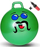 WALIKI TOYS Hopper Ball For Adults (Hippity Hop Ball, Hopping Ball, Bouncy Ball With Handles, Sit & Bounce, Space Hopper, Kangaroo Bouncer, Jumping Ball, Ages 16-101, 29 Inches, Green, Pump Included)