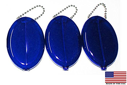 Oval Rubber Coin Purse Change Holder With Chain By Nabob ( 3 Value Pack,Blue - Holder Pocket Coin