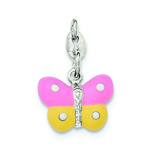 .925 Sterling Silver Enamel Butterfly Charm - Butterfly Silver Pendant Sterling Enamel