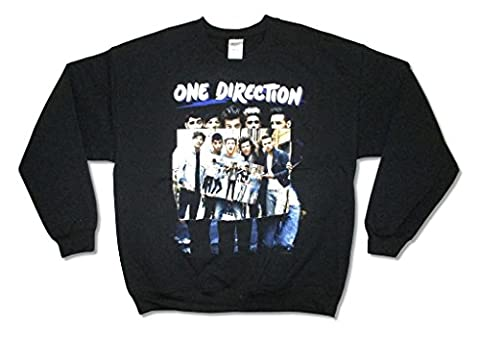 One Direction Signs Black Crewneck Sweatshirt Adult (XL) (1 Direction Tour Shirt)