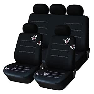 NBCVFUINJ® 9 PCS Set Car Seat Covers Universal Fit Black Butterfly Design Material Polyester Car Accessories