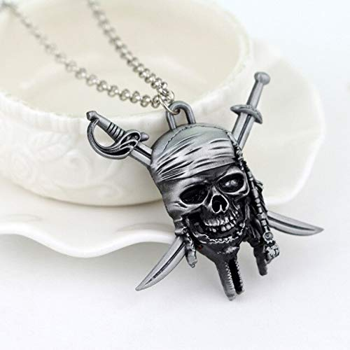 FITIONS - Movie Around Jewelry Pirates of the Caribbean Necklace Cross Swords Skull Head Pendant Necklace Vintage Accessories-30]()