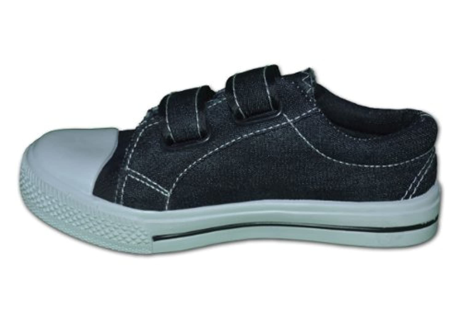 Red Tag Canvas Pumps Plimsolls Sneakers Trainers with Denim Finish - Kids/Children - Velcro Strap - RT17 (Black, 12)