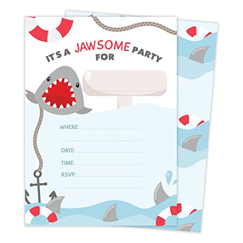 Shark Style 2 Happy Birthday Invitations Invite Cards (25 Count) With Envelopes & Seal Stickers Vinyl Boys Girls Kids Party