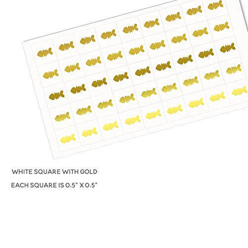 Sunny Bride Wedding Meal Stickers - White Square Stickers - Wedding Meal Indicator Stickers - Wedding Meal Choice Stickers (50 Stickers - Fish, Gold)