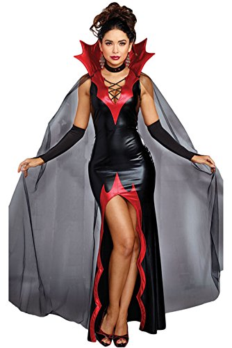 Evil Vampire Queen Costumes (Women Adult Halloween Costume 2pcs Vampire Evil Queen Dress Cape Fancy Party Black)
