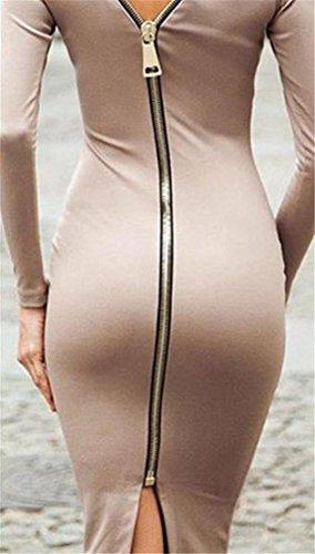 Cruiize Khaki Sleeve Classic Zipper Womens Dress Long Crewneck Back Bodycon rgwrRqZ