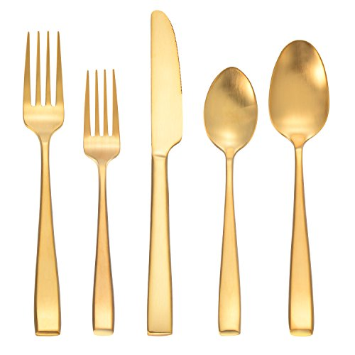 Deacory Flatware Sets 20 Piece Service for 4 Matte Gold Stainless Steel Utensils Forks Spoons Knives with Color Box Packing