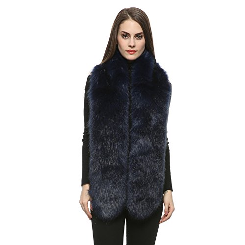 Blue Fox Fur Scarf (Dikoaina Women's Men's Extra Large Faux Fox Fur Scarf Collar Stole Shawl 71