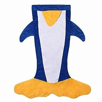 GYK Boutique Saco de Dormir Infantil de Doble Capa con Forma de Manta de pingüino, Azul Zafiro: Amazon.es: Deportes y aire libre