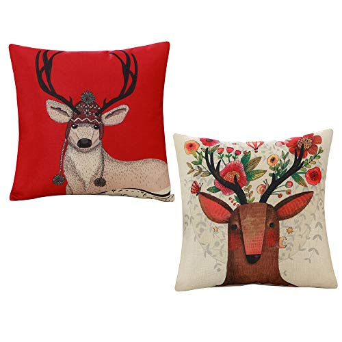 - TASLIFE Comfy Red Deer Floral Throw Pillow Covers for Couch Set of 2, Cotton Linen Cushion Covers Pillow Case, 18 x 18 Inch 45 x 45 cm Printed and Solid