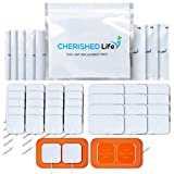 TENS Unit Pads – Premium Multi Pack of EMS Latex-Free, Non-Irritating Replacement Electrode Patches for Muscle Stimulation Massage Electrotherapy – 34pcs (2x2in Small, 2x4in XL, Pad Holders)
