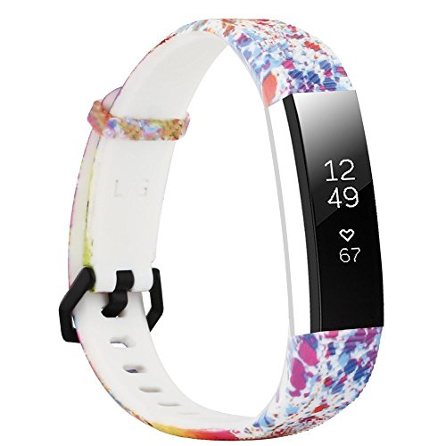 honecumi Floral Pattern Bands Compatible with Fitbit Alta/Alat hr Wrist Watch Band Replacement Accessory-Exchange Watch Band for Men&Women Colorful Stripe Printing Straps